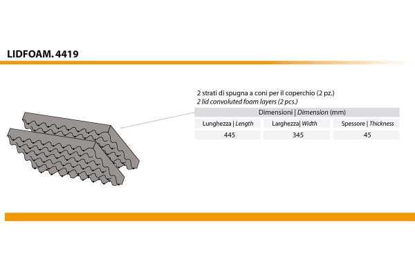 LID-ESPUMA-44 Espumas para casos 4412 e 4419. Um conjunto de duas espuma ondulado para a tampa.
