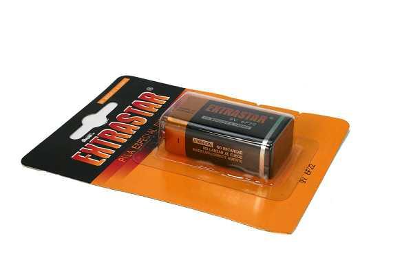 Baterias 6F22 EXTRASTAR Alkalina 9 volts tipo R9