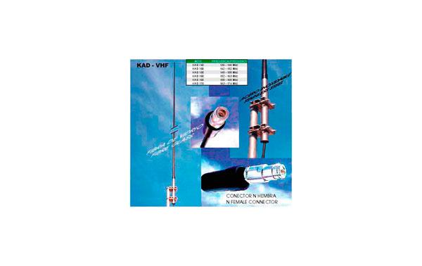 KAD165 Antena profesional de VHF colineal de fibra de vidrio. Frecuencia 158- 168 mhz.