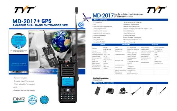 TYT-MD-2017GPS Walkie Talkie DMR, Dual band 144/430 Mhz + GPS, with digital protocol TIER I and TIER II, ETSI TS 102 361-1, -2, -3