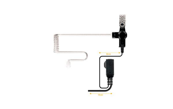 NAUZER PIN-39-K1. Micro-Auricular tubular con PTT especial para ambientes ruidosos, uso Militar, Seguridad o industrial.