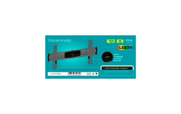 ULTRA SLIM-M SOPORTE ESPECIAL PARA PANTALLAS DE LED. Soporte de pared  para pantallas 37 pulgadas maximo, peso  maximo 30kg VESA 500 X 300