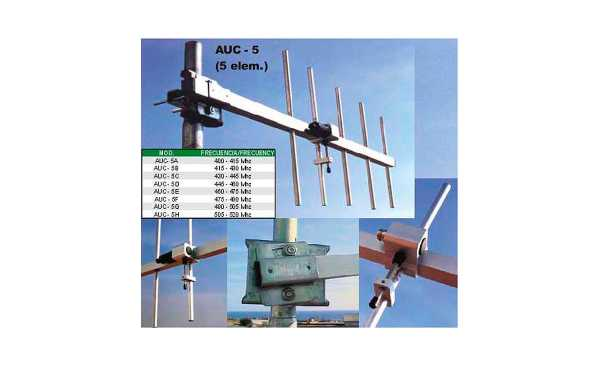 AUC5B Antena directiva profesional 5 elementos UHF 415-430 MHZ