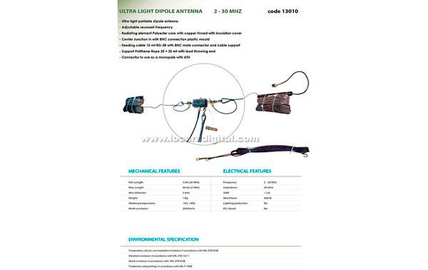 BANTEN- 13010 Antena portatil militar HF dipolo de cable ultra-ligero 2 - 30 mHz