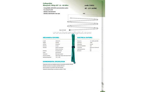 BANTEN-13053 Stainless steel folding antenna military manpack 1.6 to 60 MHz broadband. Length 2.6 mts.