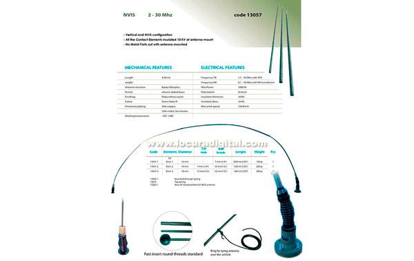 BANTEN-13050 Antena NVIS militar fibra de vidreo, banda ancha 2-30 Mhz. Longitud 4,20 mts.
