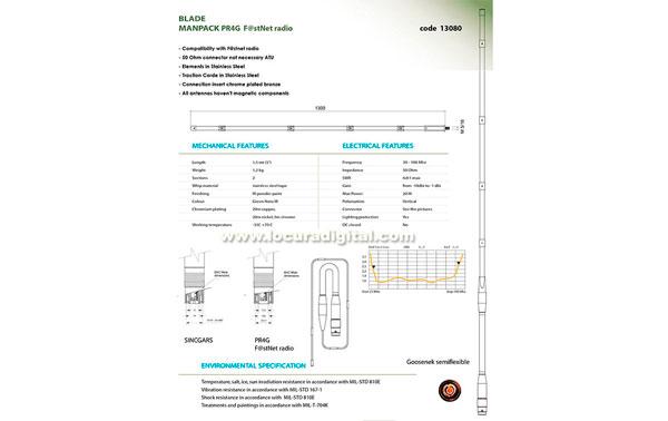 BANTEN-13080 Antena militar tipo espada manpack PR4G FASTNET  Acero inoxidable,  banda ancha 30-108 Mhz. Longitud 1,75 mts.