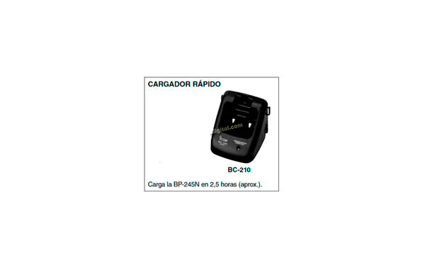 Carregador BC-210 para walkie IC-M73 e bateria BP-245.