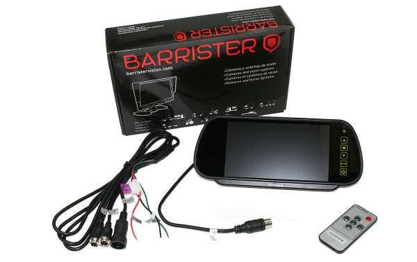 """BRV-515 BARRISTER monitor 7"""" tipo espejo retrovisor para el kit BRV15 con posibilidad de conectar dos camaras."""