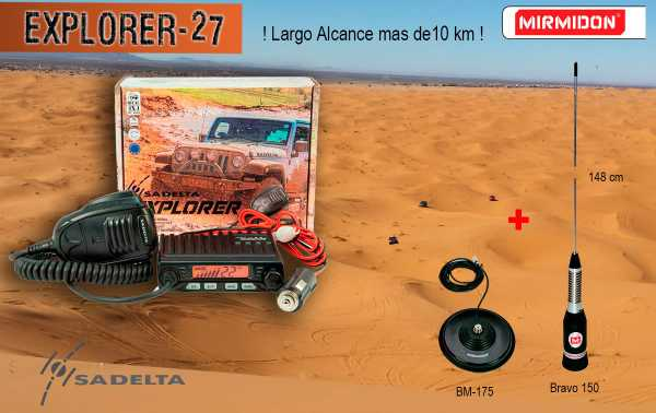 SADELTA EXPLORER-27 KIT BRAVO + BASE MAGNETICA 175  Emisora CB 27 Mhz Canales 40 AM / FM