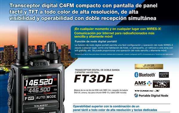 Walkie talkie Yaesu FT-3DE bibanda144 VHF / 430 UHF