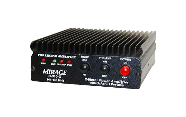 MIRAGE- B310G VHF amplifier 100 Watts frequency 144-146 Mhz with GaAsFET transistors and antenna preamplifier.