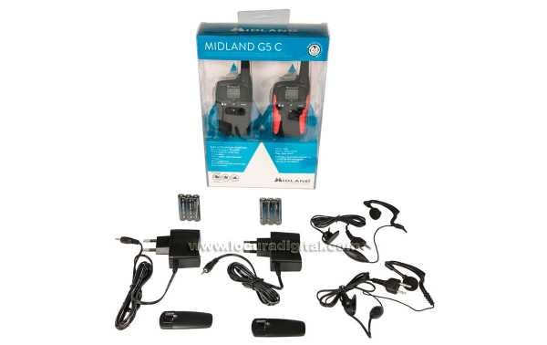 MIDLAND G-5C couple free use walkies PMR 446 + earpiece PIN19 DOS -S