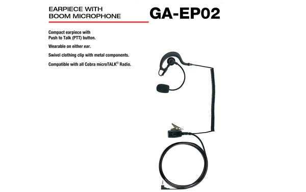 COBRA GA-EP02 Micro-Auricular Orejera tipo pertiga, con sistema PTT incorporado