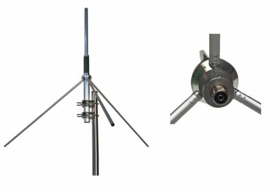 GRAUTA. Base antenna VHF GP144 5/8 Frequency 136-174Mhz, Power 500W, Gain 5.15 dBi, Connector type PL. It includes 2 clamps to attach to a mast, to hold the antenna it will be necessary a mast or tube in vertical from 35 to 45 maximum millimeter in diamet