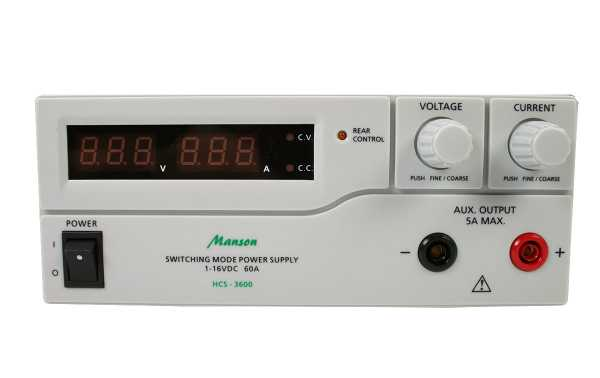 Manson HCS3600 Dimmable Digital Power Supply 1-16 Volts, Dimmable 0-60 Amps