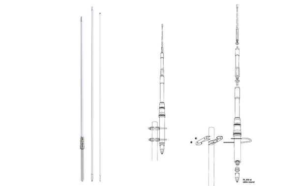 HIMALAYA WB PRESIDENT Antena fibra de vidreo 1/2 Onda sin radiales CB-HF cubre la frecuencias de 22-30 Mhz, longitud de la antena 5,27 mts,  ganancia 8 dBi.