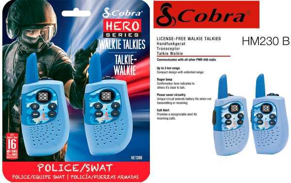COBRA HM-230-BLUE Pareja de walkies  PMR  color azul alcance 3 km