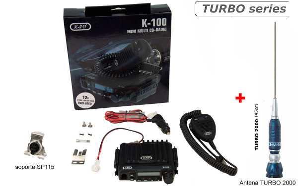 K100V2-TURBO EMISORA MINI CB 40 AM/FM 27 mhz + ANTENA + SOPORTE