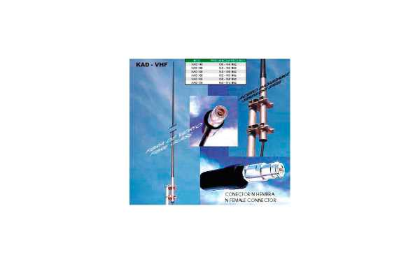 KAD-155 Antena profesional de VHF colineal de fibra de vidrio. Frecuencia 148 - 158 mhz.