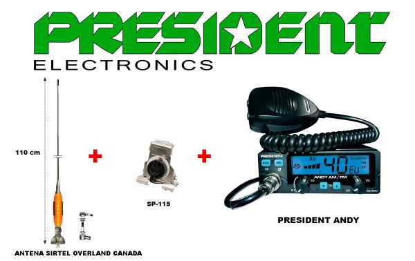 Emetteur PRESIDENT ANDY KIT-10 AM / FM 12/24 V 40 canaux