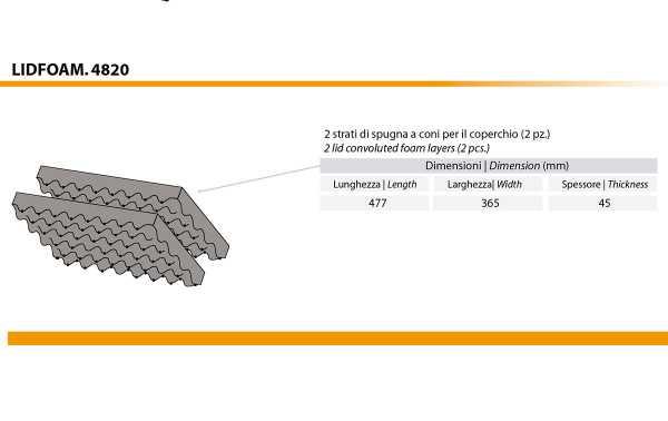 LID-FOAM-48 Jogos compostos por duas espumas para malas 4820. Conjunto de duas espumas corrugadas para a tampa.