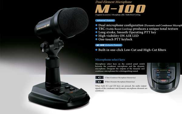 YAESU M-100 Desktop microphone for YAESU HF stations: FTDX 9000, FTDX 5000, FTDX 3000, FTDX 1200, FT-991A, FT-891 and their FT-450 series