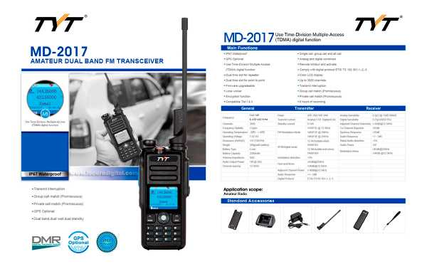 TYT-MD-2017 Walkie Talkie DMR, Doble banda 144/ 430 Mhz con protocolo digital TIER I y TIER II, ETSI TS 102 361-1,-2,-3