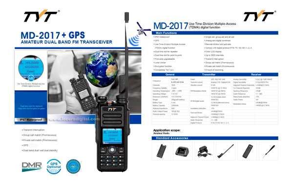 TYT-MD-2017GPS  Walkie Talkie DMR, Doble banda 144/ 430 Mhz + GPS,  con protocolo digital TIER I y TIER II, ETSI TS 102 361-1,-2,-3