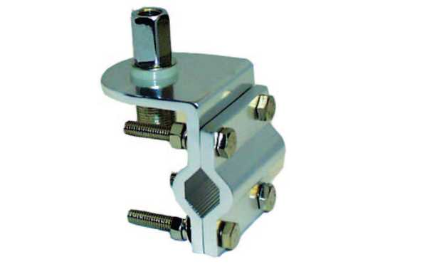 MFJ342T 3/8 threaded antenna holder ideal for fastening on railings or tubes, lower connector is PL female.