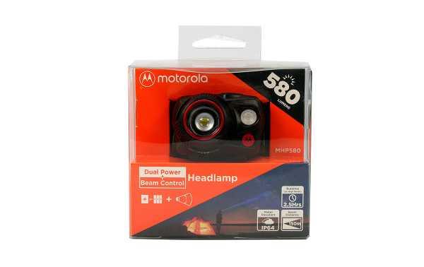 MOTOROLA MHP-580 Linterna frontal 580 lumens color negro y rojo