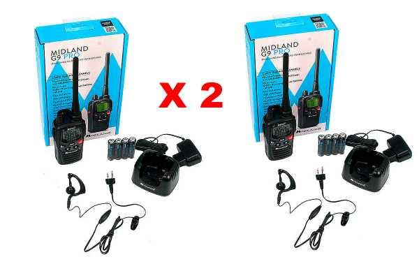 MIDLAND G9-PRO-KIT2 walkie uso livre PMR 446 + 2 Pinganillo PIN19S
