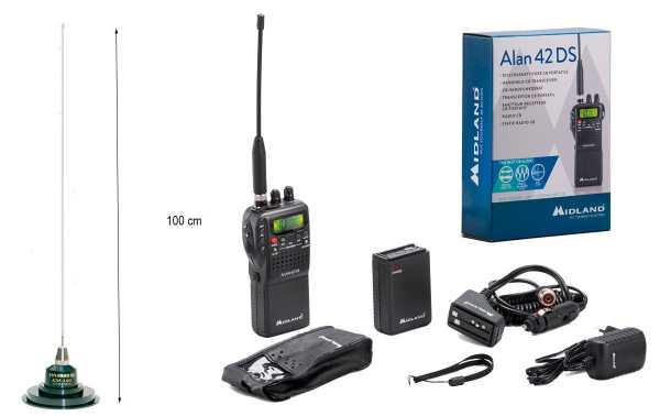 Alan 42 DS Multi, Walkie de 27MhZ CB AM/FM + Antena magnetica KM-100