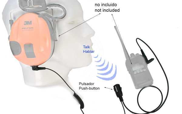 Casque compatible NAUZER PTT-32S MIDLAND Micro / PTT PELTOR SPORTTAC