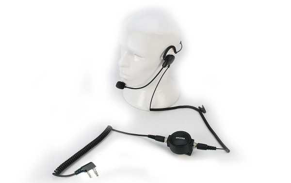 NAUZER PIN-59K. Micro-casque de type tour de cou, pertiga pour le microphone de la bouche et grand PTT professionnel à utiliser facilement avec des gants.