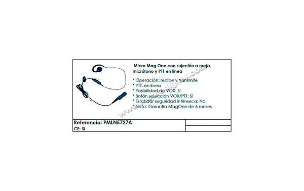 PMLN5727 MOTOROLA micro-auricular orejera para series DP3441, DP2000, DP2400, DP2600, MTP3000, MTP3100, MTP3150, MTP3200, MTP3250