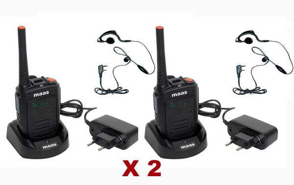 MAAS PT-120 Pack  2 Walkie profesional de Uso libre, PMR 446