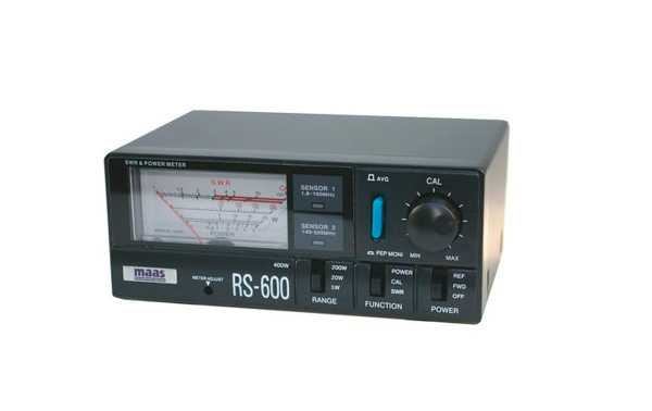 RS-600 Stationary ROE Meter and Wattmeter with HF / VHF / UHF frequency sensor led indicator. Maximum power: 5/20/200/400 Watts
