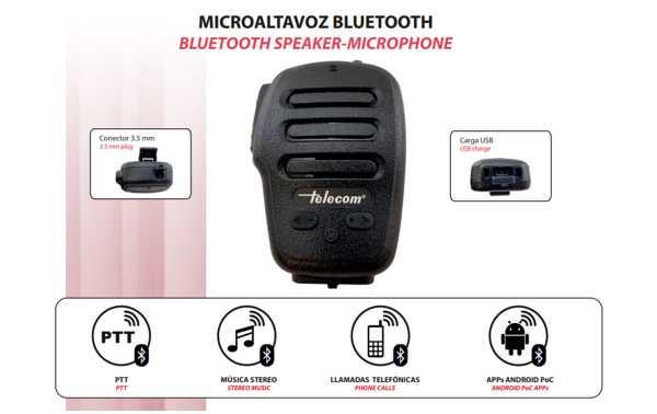 TELECOM SP-BT-POC Micro Altavoz bluetooth PoC como Zello, EsChat, etc