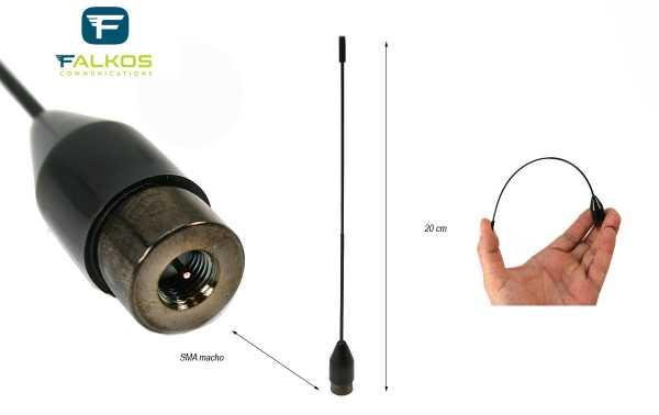 FALKOS SRH-519M Antena para walkie doble banda 144-430 Mhz. SMA macho