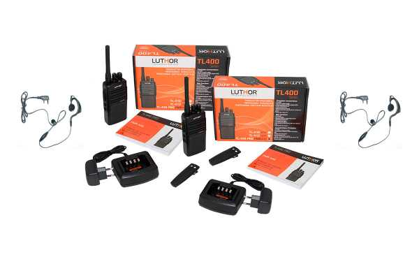 LUTHOR TL446-KIT2  Pareja de dos walkies. Uso Libre Profesional PMR 446. + 2 pinganillos de regalo.