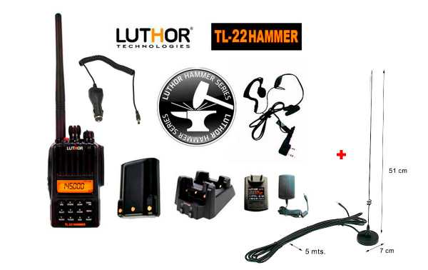 LUTHOR TL-22 HAMMER Walkie 144 mhz. + Connecteur aimant antenne SMA