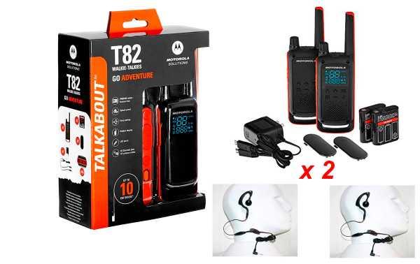 MOTOROLA TLKR T82-KIT 1 par de walkies uso livre + 2 PINGANILLOS