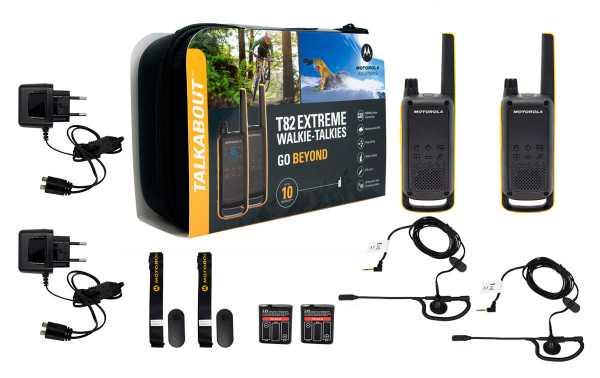 MOTOROLA TLKR T82-EXTREM pareja de walkies uso libre  +2 PINGANILLOS