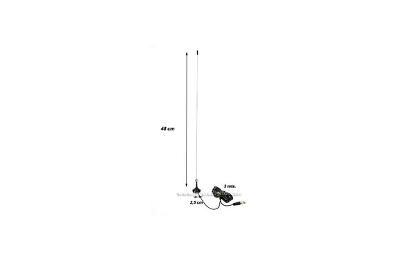 Antena mini-magnetica Bibanda VHF/UHF, 144/430 Mhz. Con cable de 3 mts. RG-174 y conector BNC.